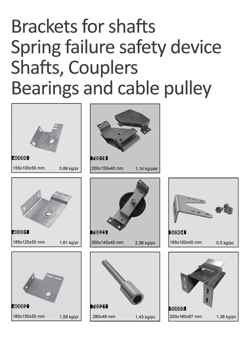 Brackets for shafts, Spring failure safety device, Shafts, Couplers, Bearings and cable pulley