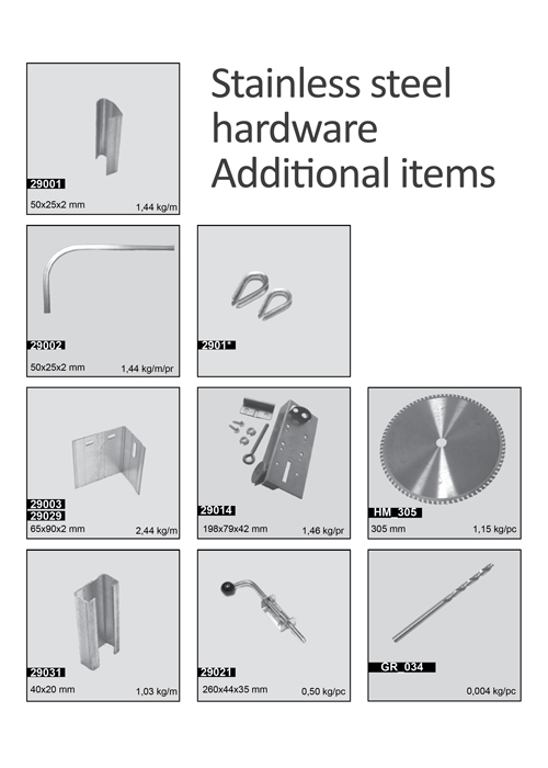 Stainless steel hardware, Additional items
